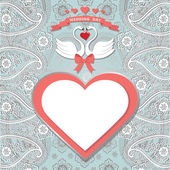 Cute  template.Paisley border lace, hearts label,cartoon swans — Stock Photo