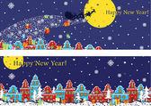 New Year horizontal banner set.Santa Claus coming to City — Foto Stock