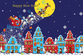 New Year horizontal greeting card.Santa Claus coming to City.Vec — Stock Photo