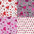 Set of love Seamless pattern or background with hearts — Stock Photo
