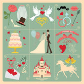 Set of wedding invitation cons. — Stock Photo