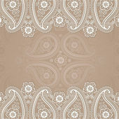 Paisley  border lace design template — Stock Photo