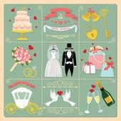 Set of wedding invitation icons — Stock Photo