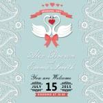 Vintage wedding invitation with Paisley border,cartoon swans — Stock Photo