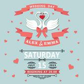 Wedding invitation with cartoon swans — Stock Photo