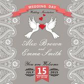 Cute  template.Paisley border lace, hearts label,cartoon pigeons — Stock Photo