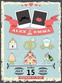 Humorous wedding invitation with cartoon icons — Stock Photo
