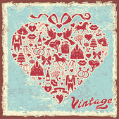 Vintage design template with wedding item in hearts composition — Stock Photo