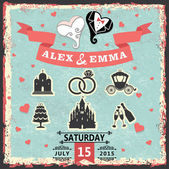 Vintage invitation with stylized heart and wedding items — Stock Photo
