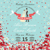 Wedding invitation.Bride and groom.Flying hearts,flowers backgro — Stock Photo