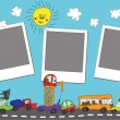 Funny cartoon Doodle photo frame.Child's hand draw cars — Stock Photo