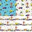 Child's hand draw cars.Funny cartoon Doodle seamless pattern — Stock Photo