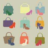 Färgade silhuetter av mode damernas handväska — Stockfoto