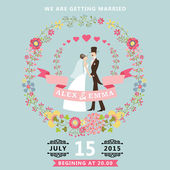 Cute wedding invitation with bride, groom, floral wreath — Stock Photo