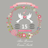 Cute wedding invitation with pigeons and floral wreath — Stock fotografie