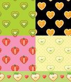 フルーツのシームレスなパターンのセット. — ストック写真