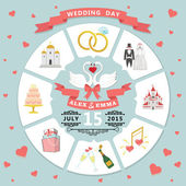 Wedding invitation in infographic style — Stock Photo