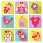 Cute cartoons icons for newborn baby girl — Стоковое фото