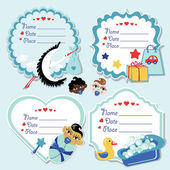 Cute label set with items for newborn baby boy — Stock Photo