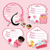Cute label set with items for newborn baby girl — Stock Photo