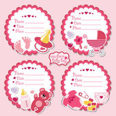 Cute label kit with items for newborn baby girl — Stock Photo