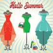 Set of three coctail dresses with accessories.Hello summer — Stock Photo #49714161