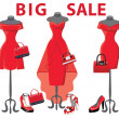 Set of three red coctail dresses with accessories.Big sale — Stock Photo