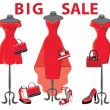 Set of three red coctail dresses with accessories.Big sale — Stock Photo #49714175