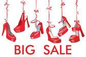 Buty damskie moda czerwony powiesić na sprzedaż ribbon.big — Zdjęcie stockowe