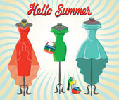 Set of  three coctail dresses with accessories.Hello summer — Stock Photo