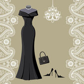 Black party dress with chandelier and paisley border — Stock Photo