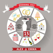 Wedding invitation in infographic style.Retro wedding wear — Stock Photo