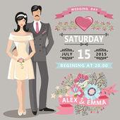 Retro Wedding invitation.Floral elements,Cartoon bride, groom — Stock Photo