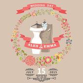 Cute wedding invitation with wedding wear and floral wreath — Photo