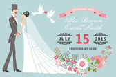 Retro Wedding invitation.Floral elements,Cartoon bride, groom — Foto de Stock