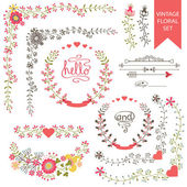 Festive floral set. Frames,flowers,wreath — Stockfoto