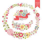 Set floreale festoso. cornici, fiori, ghirlanda — Foto Stock