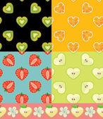 Kiwi,orange,strawberry,Apple.Set of Fruit seamless pattern — Stock Photo
