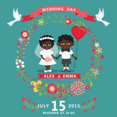 Wedding invitation with mulatto couple — Stock Photo