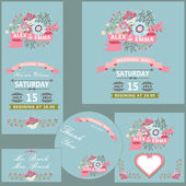 Wedding design template set with flowers — Stock Photo
