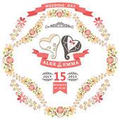 Wedding invitation with hearts — Foto Stock