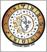 All zodiac sign in Horoscope circle.Retro Illustration — Stock Photo