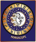 All zodiac sign in Horoscope circle.Sun and Moon.Retro — Stock Photo