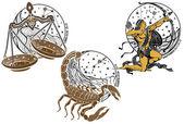 Libra,Scorpio,Sagittarius and the zodiac sign.Horoscope — Stock Photo