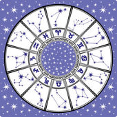 Zodiac sign and constellations.Horoscope circle.Black and white — Stock Photo