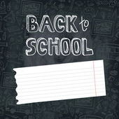 Back to School Supplies Sketchy Doodles on chalkboard — Stock Photo