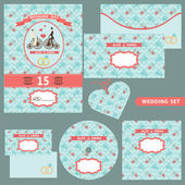 Wedding template set with floral pattern — 图库照片