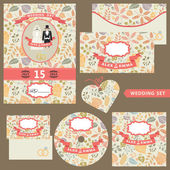 Wedding invitation set with autumn pattern — 图库照片