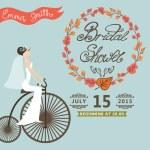 Bridal Shower invitation.Autumn wreath,bride,retro bicycle — Stock Photo #51660731