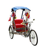 Thailand auto rickshaw three-wheeler tuk-tuk taxi driver on white background.Clipping path. — Stock Photo